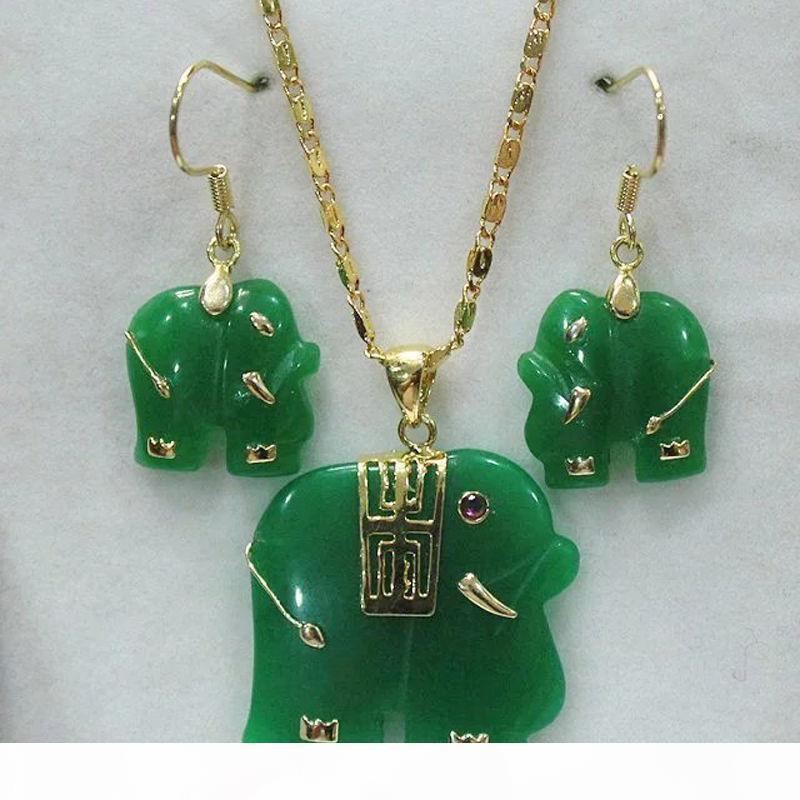 ¡Encantador! verde colgante de jade natural de elefante amarillo aretes collar blanco conjunto de joyería de moda