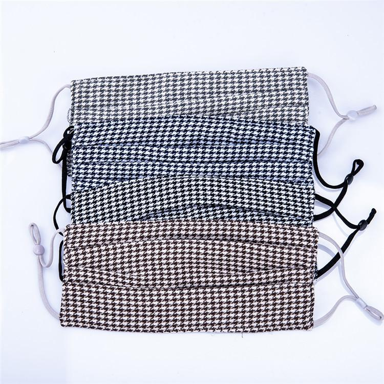Mode-Designer-Plaid-Druck-Muster-Gesichtsmaske 4 Schicht Waschbar Resuable Schutz Cotton Gesichtsmaske Cloth Mundmaske Factory Direct Preis