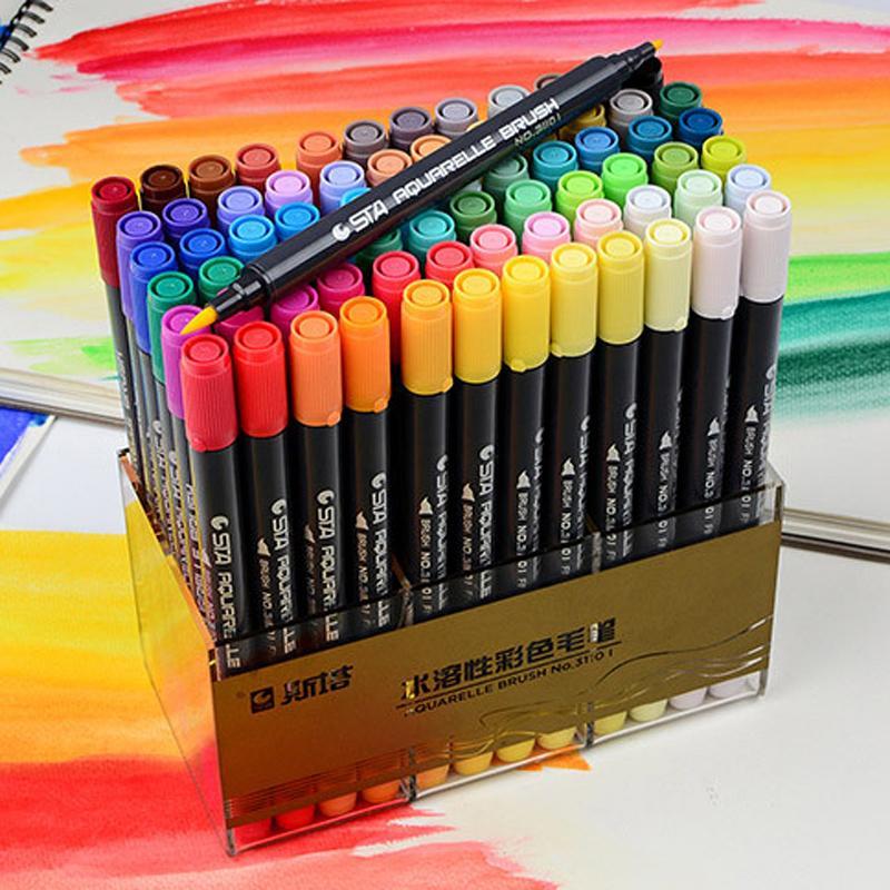 STA Dual Brush a base d'acqua Art Marker Penne con Fineliner Tip 12 24 36 48 Colore Imposta Acquerello morbide Marcatori per artisti Disegno Y200709