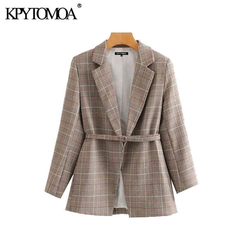 빈티지 세련된 오피스 착용 격자 무늬 재킷 코트 여성 2020 패션 긴 소매와 벨트 여성 자켓 칙 CX200819 탑