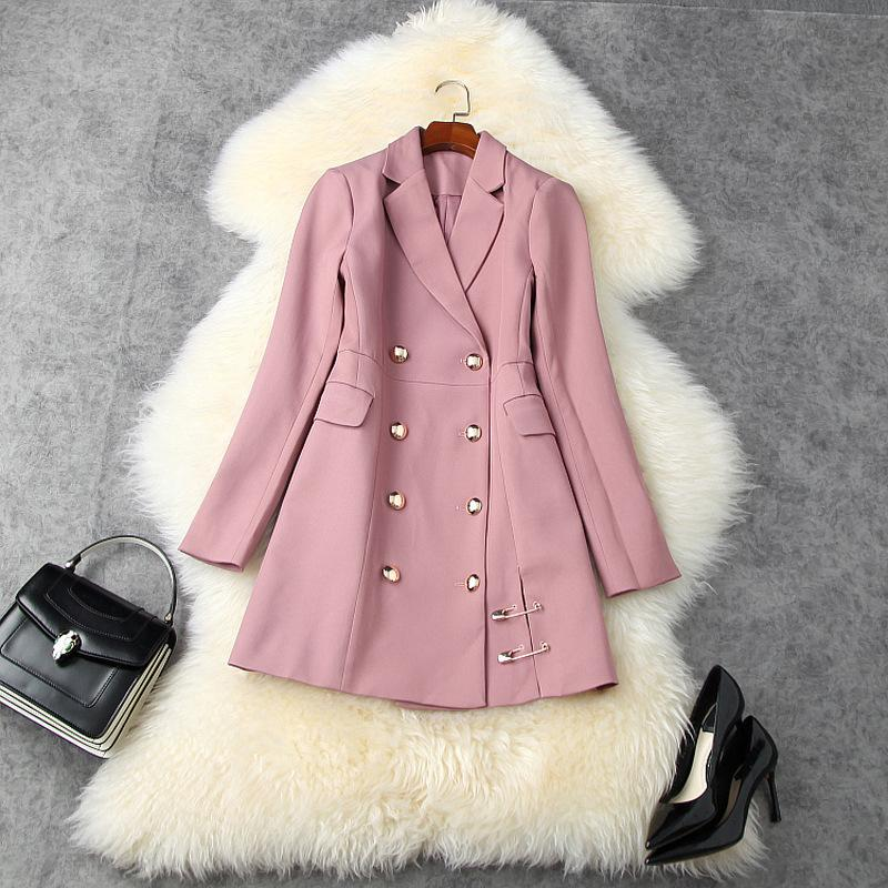 2020 Fall Autumn Long Sleeve Notched-Lapel Black / Pink Pure Color Panelled Double-Breasted Pin Blazers Casual Outwear Coats LAG25T11219