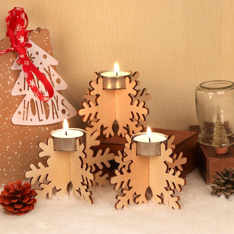 Bougeoir de Noël en bois: bricolage bloc de construction en bois Bougeoir de Noël Décorations de mariage Souvenirs 12pcs / set