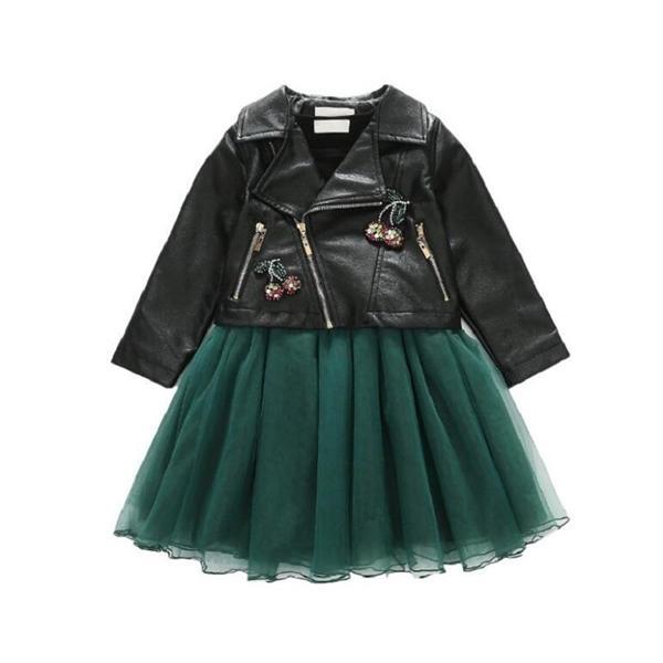 trajes de 2020 nuevos niños, ropa del otoño de las muchachas grandes de la chaqueta de cuero de los niños + malla vestidos de dos piezas 3-12yrs juego del desgaste 0926