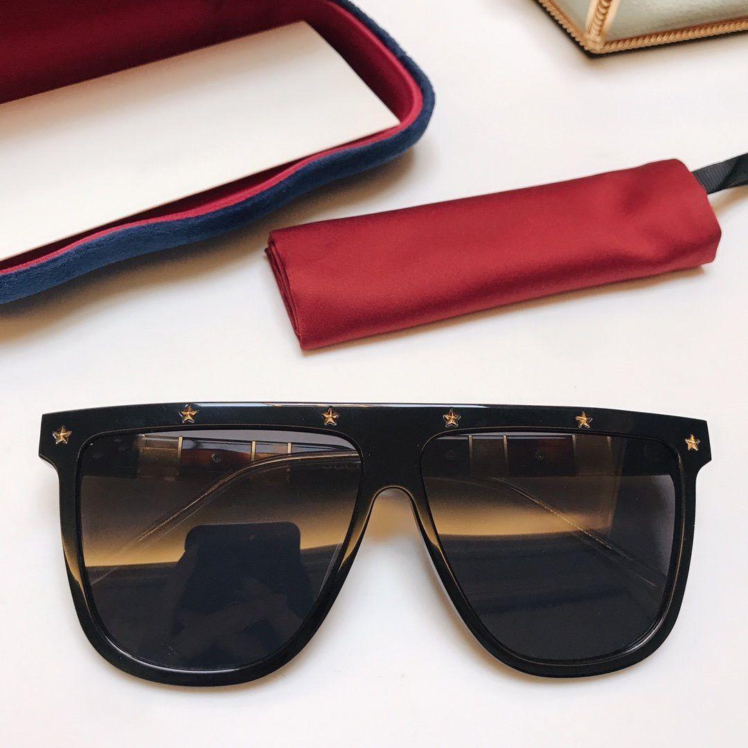 Calidad superior de lujo más nuevo 2020 Diseño Marco grande de gran tamaño gafas de sol de las mujeres cuadradas grande Flat Top Gafas de sol de moda Gradiente Sombras GG0712S