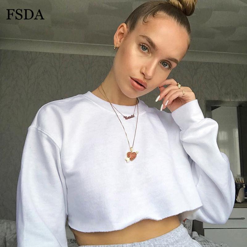 FSDA Long Sleeve Short Sweatshirt Autumn Streetwear Women Crop Black White Yellow Casual Cotton Streetwear O Neck Top