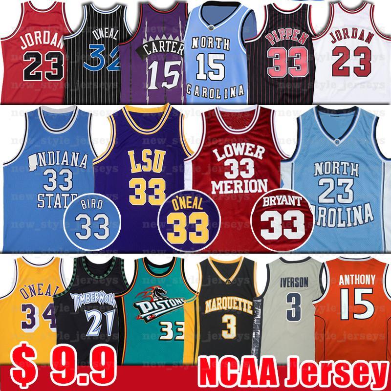 NCAA North Tar 23 Michael O'Neal 33 Shaquille LSU Jersey Garnett Carter 15 Vince Kevin Bryant bul Scottie Rodman Pippen Basketball Jerseys
