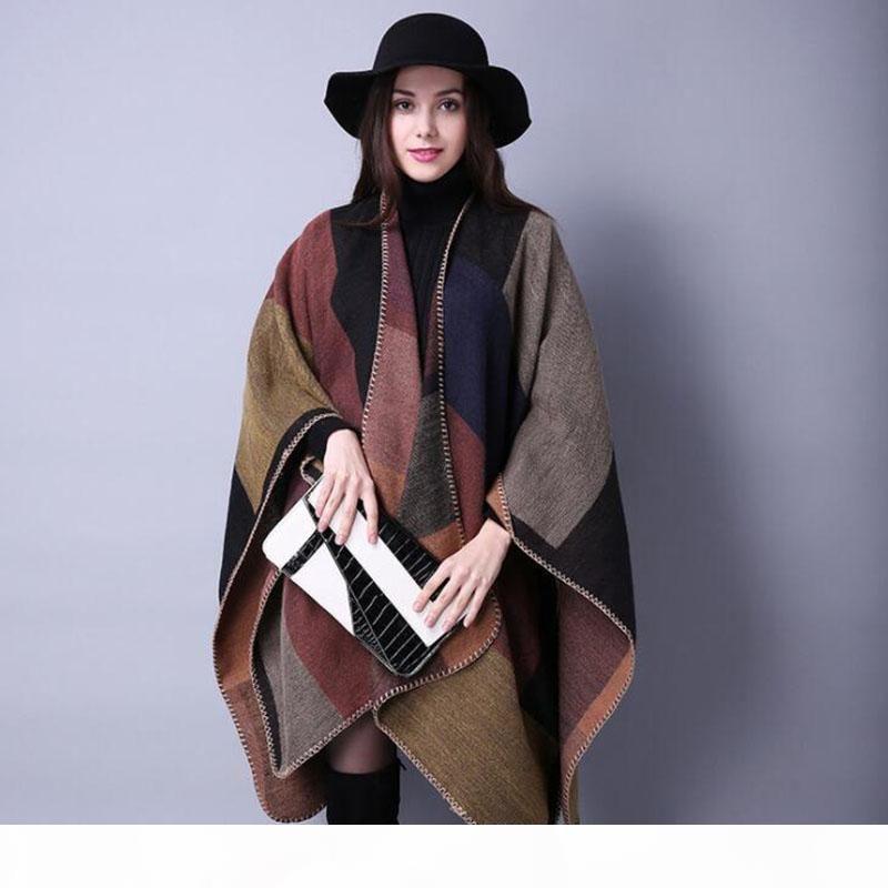 Inverno Poncho Vintage de Nova Marca Mulheres Manta frete grátis Lady malha Xaile Cape Cashmere Scarf Poncho de Mulheres