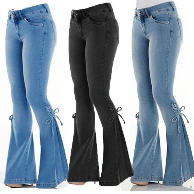 Plus Size Jeans Donne Jeans Casual Slim Stretchy Denim Denim Jeans Gastronomia Pantaloni a bagliore lunghe Light Blue Gamba Pantaloni a gamba