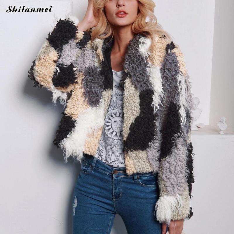 플러스 크기 후드 모피 겉옷 숙녀 가짜 모피 코트 하이 스트리트 멀티 컬러 가을 겨울 긴 소매 솜털 따뜻한 코트 3XL
