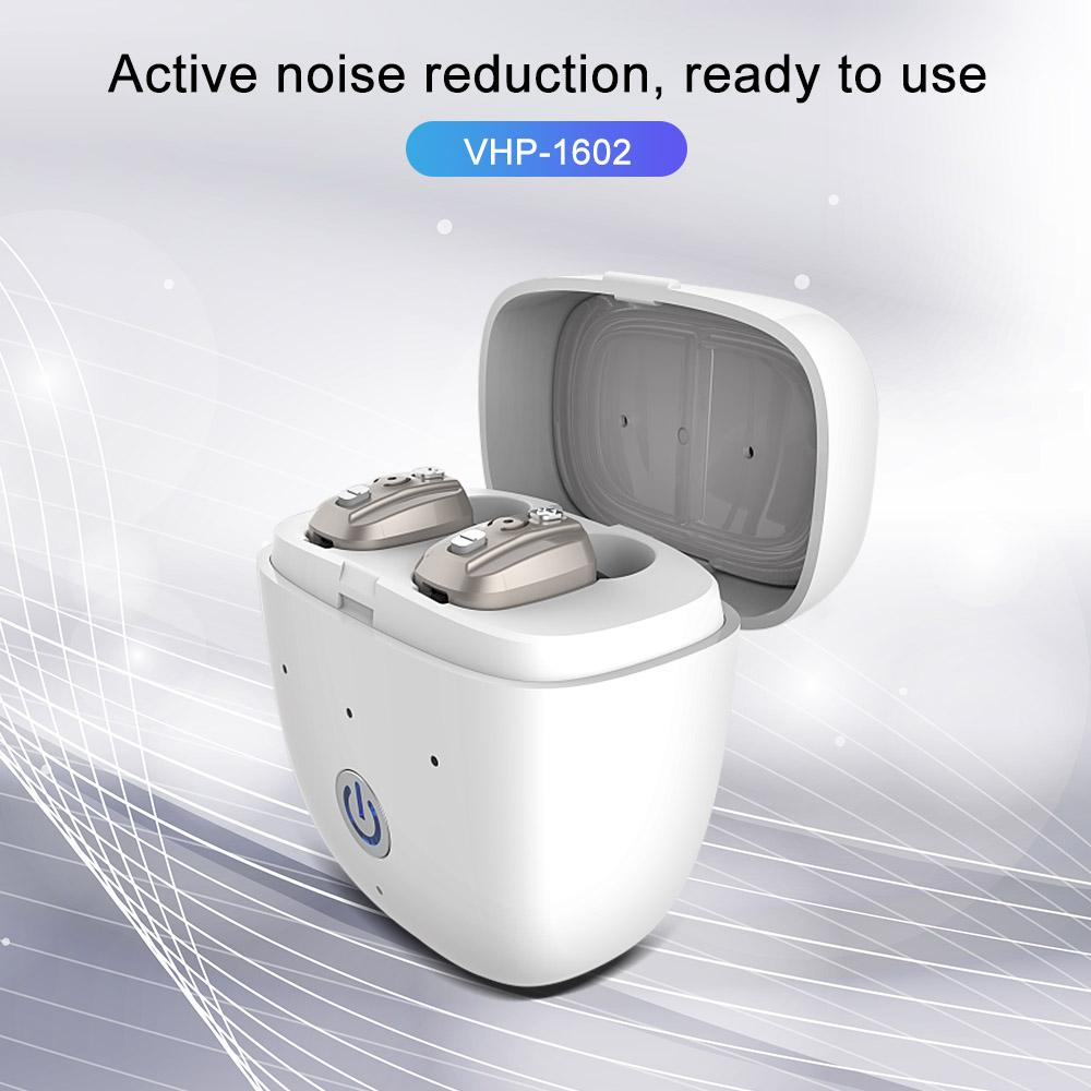 VHP1602 New Fashion Digital Rechargeable Hearing Aids Box Invisible Mini Sound Amplifier Earphones for the elderly and Deafness
