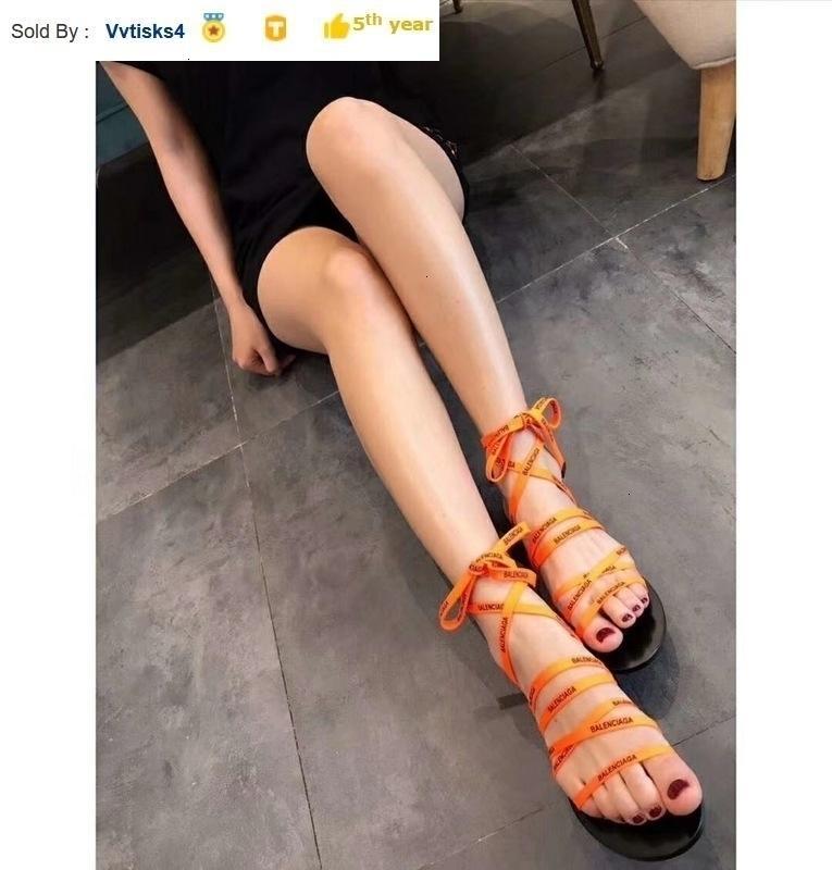 ladies Orange lace-up flat sandals Casual Handmade Walking Tennis Sandals Slippers Mules Slides Thongs