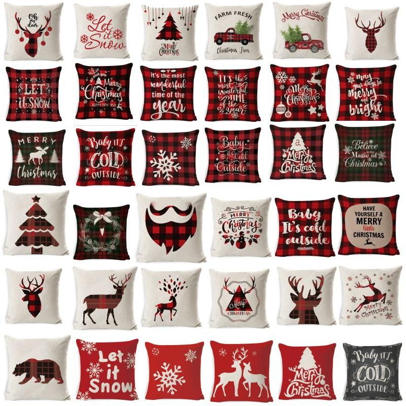 عيد الميلاد غطاء وسادة غرفة المعيشة الديكور الوسائد عيد الميلاد غطاء وسادة الأريكة منقوشة وسادة كرسي غطاء وسادة 45X45CM