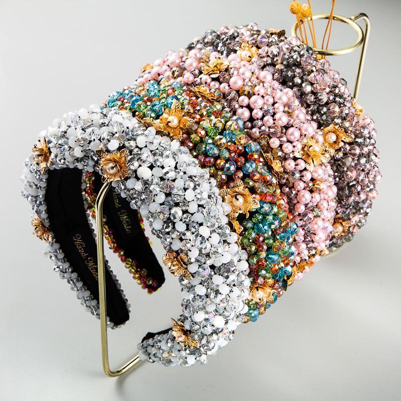 Cristallo colorato Bling completa fascia per le donne a mano Peal fascia Shiny Sponge imbottito diamante di Hairband Accessori per capelli