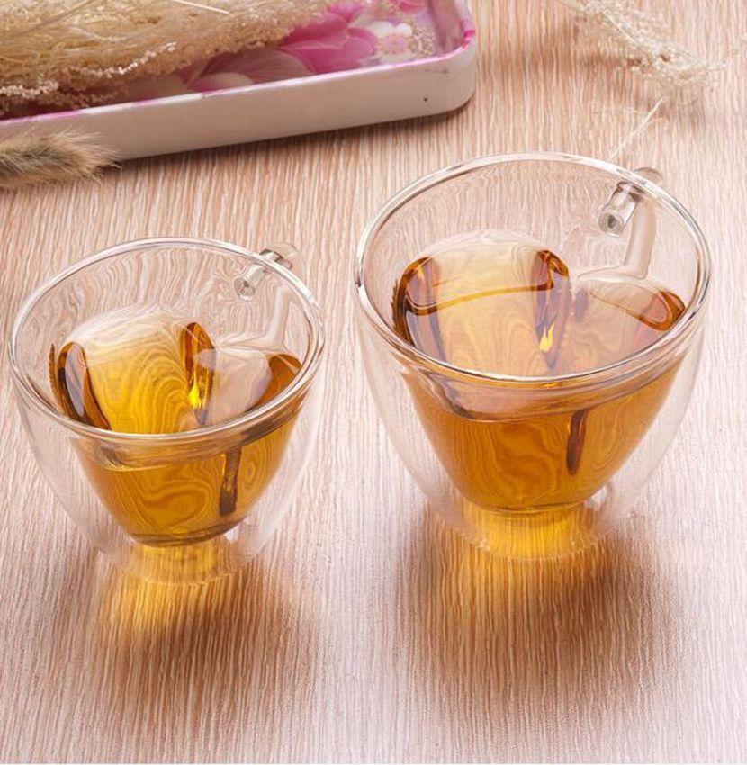 Çift Duvar Cam Kahve Kupalar Şeffaf Kalp Şeklinde Süt Çay Bardakları 180 ml 240 ml Süt Çay Bardak Romantik Hediyeler KKA8003