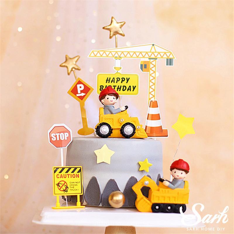 Traffic Sign Star Cake Toppers Строительство автомобиля Украшение для Birthday Party Anniversary Baby Shower Выпечка принадлежности подарок