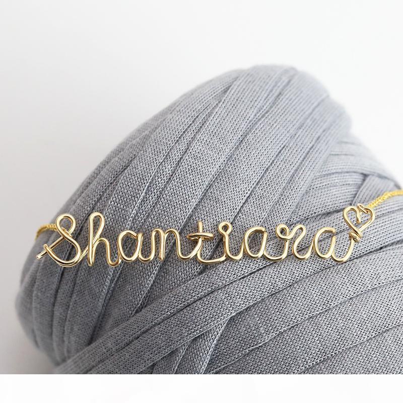 Presentes Dia PINJEAS Custom Name Gargantilha Colar Cadeia pendente artesanal fio wrap jóias da mãe mulheres s acessórios colthing