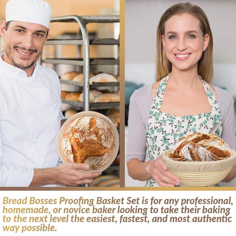 Pão fermentação pão cestas rattan rattan massa baguette 5 tamanhos cesta pano cobertura de cobertura natural com cortador do país CLHEO