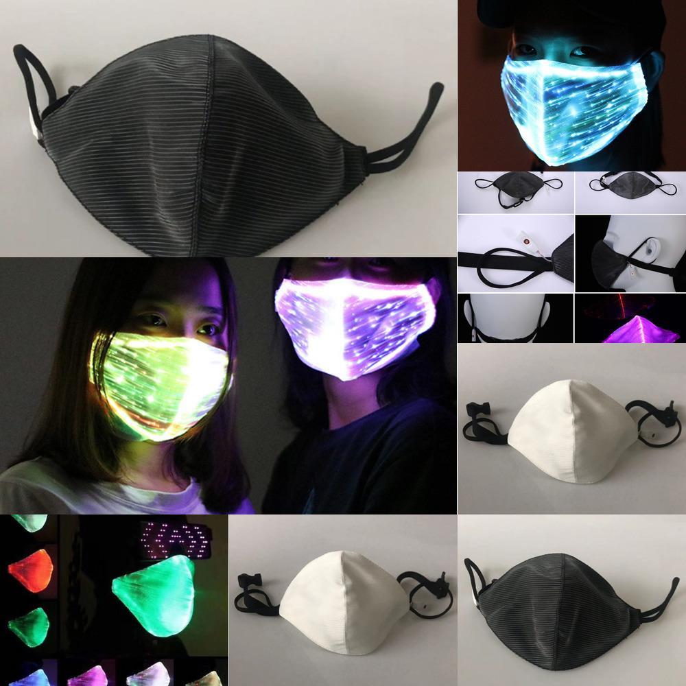 Colorido 2019 Poeira Led piscando fibra Chargeable Tecido Optic Máscara Dc116