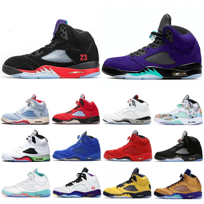 Мужчины моды 5 5s Баскетбол обувь ALTERNATE GRAPE Мичиган Остров Зеленый Бред Свежий принц Фиолетовый Белый виноград Мужские кроссовки Спортивная обувь