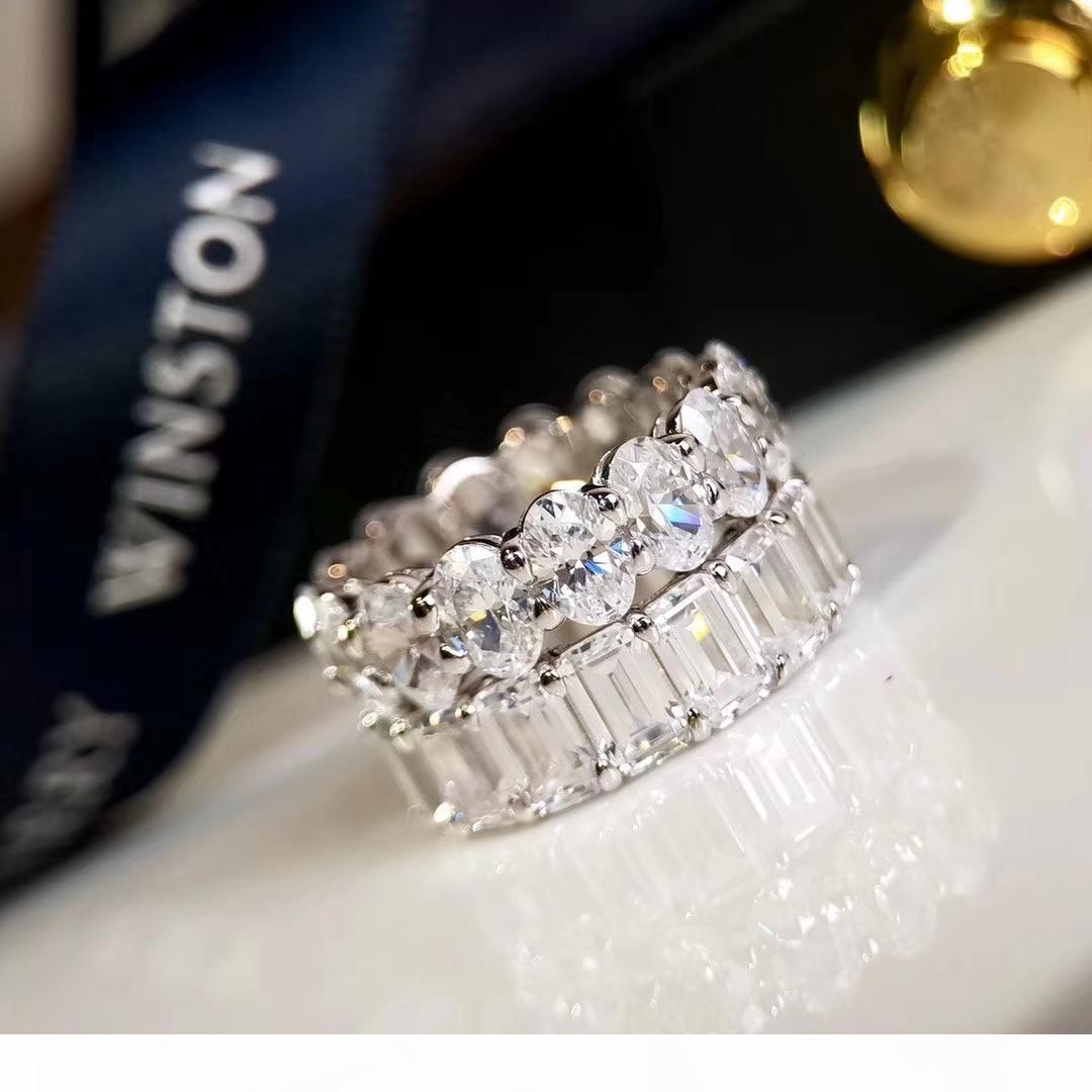 Capina Anéis Winston 5A diamante S925 prata Sterling para Present Mulheres de Natal Presente de Ano Novo