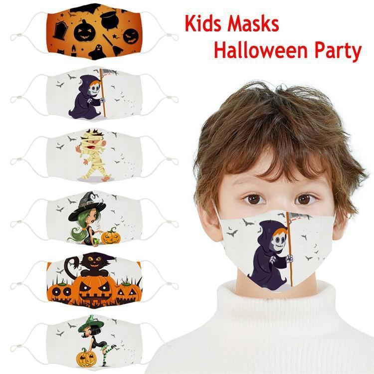En stock Enfants Halloween Party Masques 3D Imprimé citrouille Sorcière Fantôme Motif enfants Visage Masque lavable réutilisable coton bouche couverture FY9186