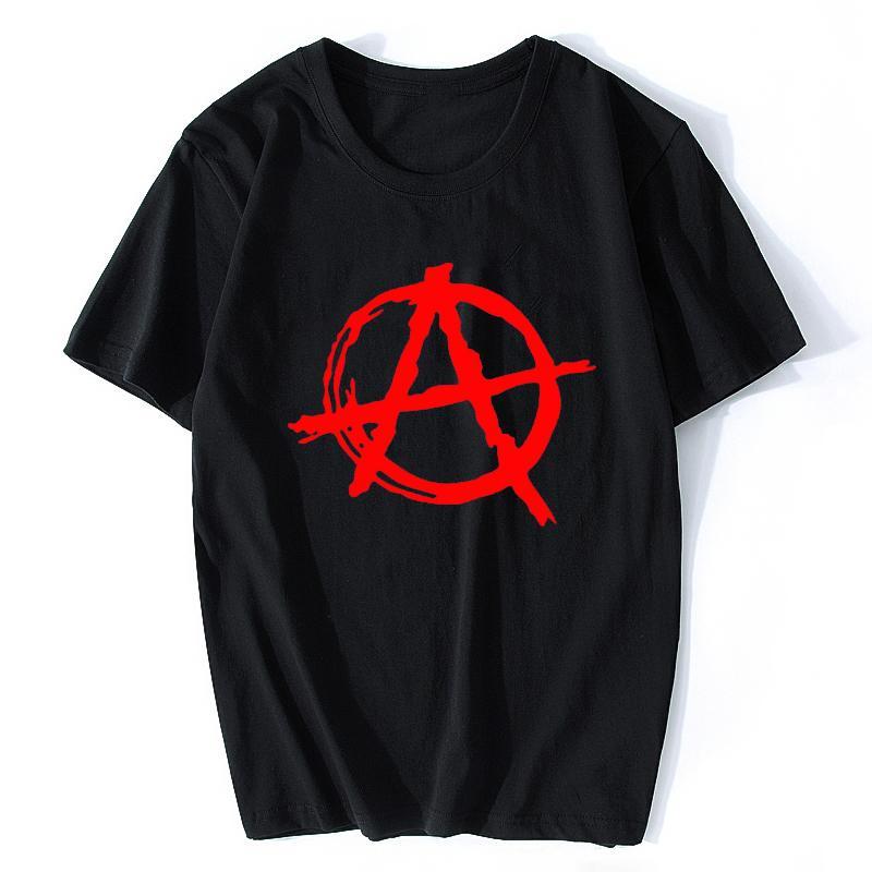 Anarchy Symbol T Shirt - Hop O del collo uomini della maglietta Punk Rock T Shirt Bedlam Male anarchica Guerra Rocker cotone freddo di hip
