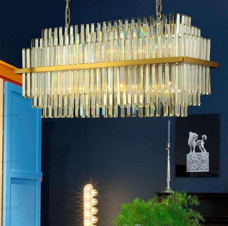Modern retangular candelabro de cristal de suspensão de Iluminação LED Vidro Lustres Lâmpada de estar Sala de jantar luminária
