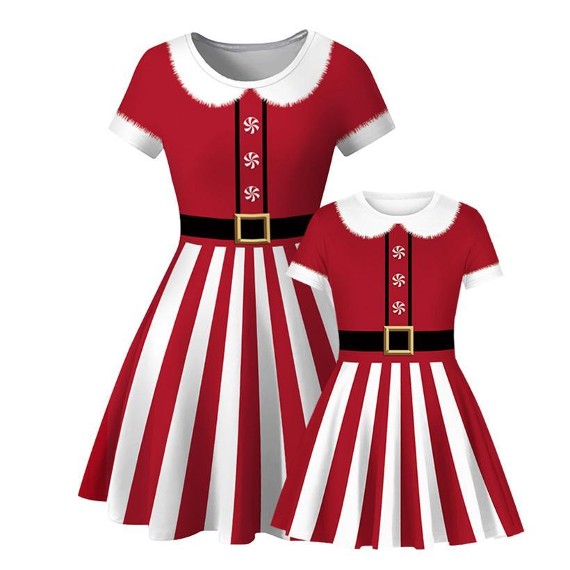 Новые Популярные рождественские красные и белые полосы европейской и американской цифровой печати Mother Daughter футболку платье моды платье