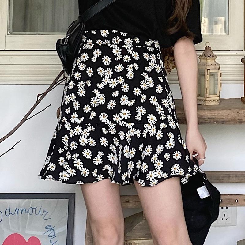 Petit gbxS3 l'été de femmes de marguerite 2020 nouvelle ligne A- A- printemps mi-longueur et jupe floral tempérament mode jupe robe de l'été A-ligne