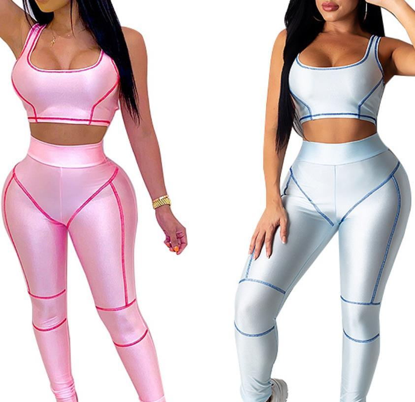 Women legging Vest Tracksuits Set Polyester High Waist New Fitness Sexy Yoga Gym Hygroscop Sweat Releasing Lady Exercise Two Pieces Outfit