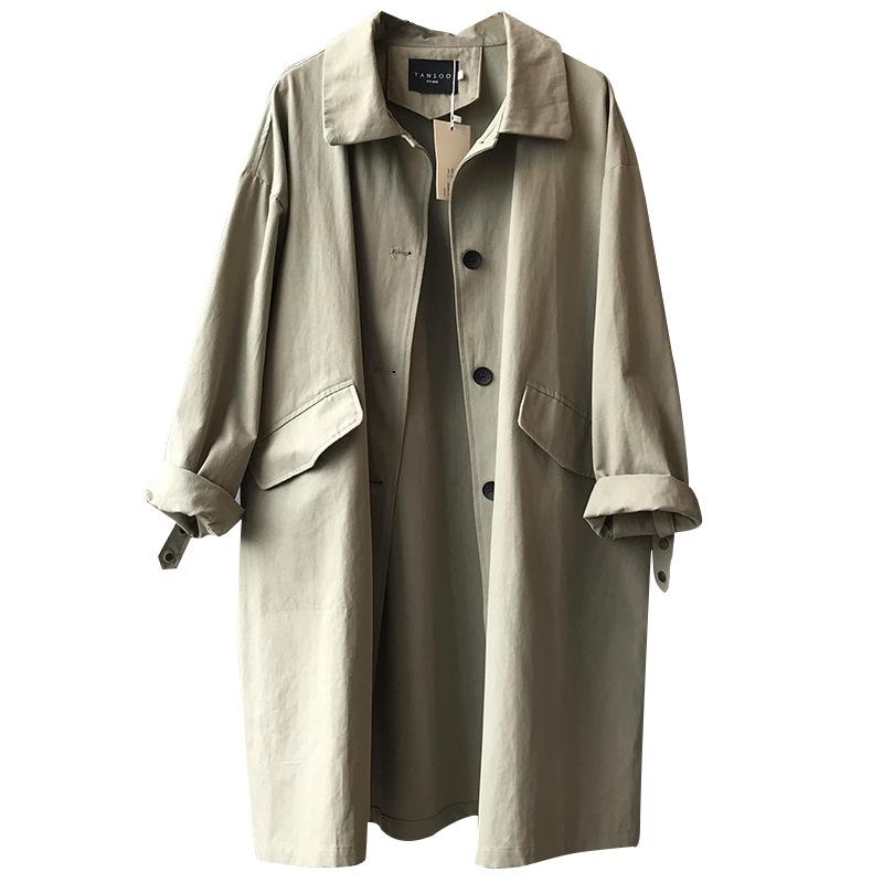 2020 New Spring Clothes Women Solid Turn-down Collar Single Breasted Ladies Trench Coat Casual Loose Slim Women Trench L304