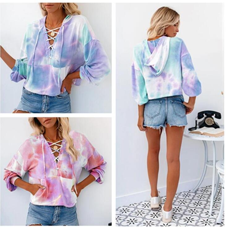 Gradiente Hoodies Mulheres Blusas de Inverno Senhoras camisolas moletom Tops Roupa Moda Tie-dye impressão de mangas compridas camisola Hot CZ82701