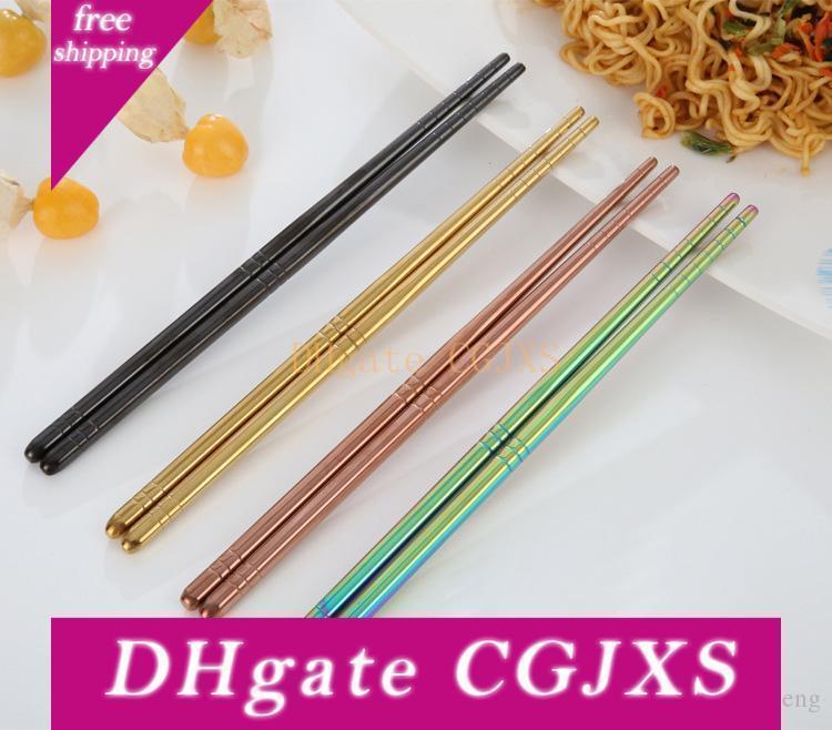 Kaplama Titanyum Chopsticks Yaratıcı 304 Paslanmaz Çelik Skid Direnç Chopsticks Sihirli Çok Renkli Çin Stil bulaşığı