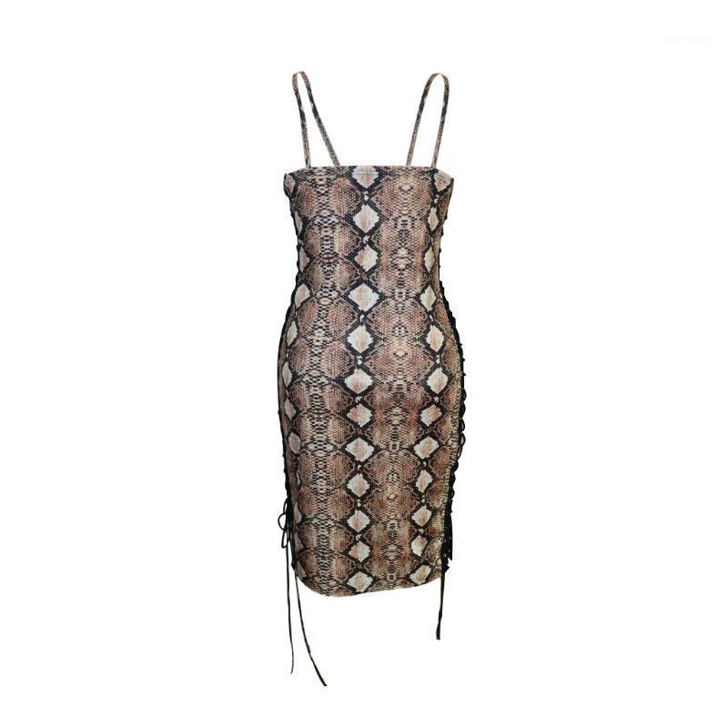 Dünne Kleider Serpentine karierte Kleider Luxus Designer Club-Kleid-Dame-Kabelbinder Kleid Sexy Frauen drucken