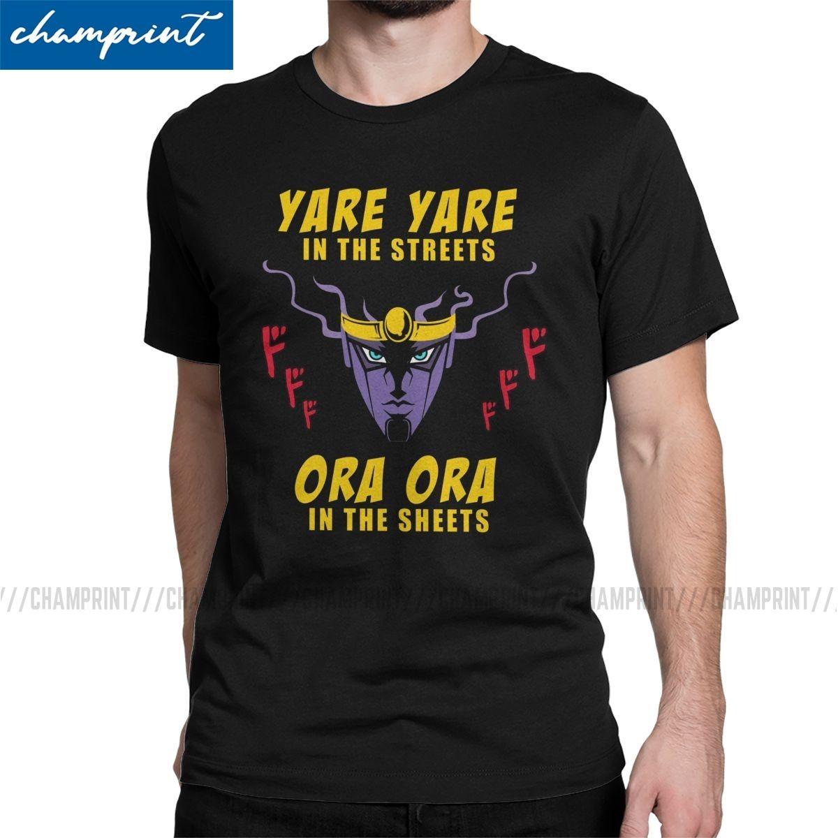 Uomo T-shirt Yare Yare In The Streets Fun Tee Shirt Jojos Bizzarre Avventure Anime Manga Jjba maglietta rotonda Colletto
