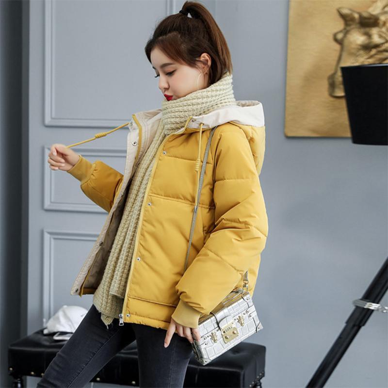 Winter warme starke Mantel-Frauen-Baumwolle gefütterte Parkas Hooded Zipper Solide Langarm-beiläufige lose Femme Taschen Mäntel Blousons