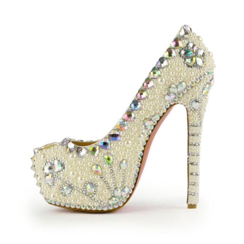Yeni Geliş kristal Kadınlar Düğün ayakkabıları Kadın yüksek topuk platform ayakkabı kadın bayan ayakkabıları chaussure femme Pençe seksi LJ200924