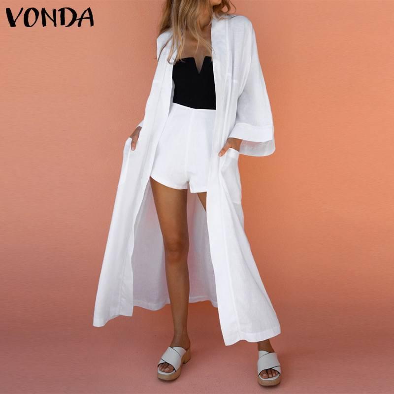 VONDA Mujeres rebecas 2020 blusas de la manera mujeres de la vendimia larga tops casuales de manga larga de la blusa sólido suelto Blusas Femenina S-5XL