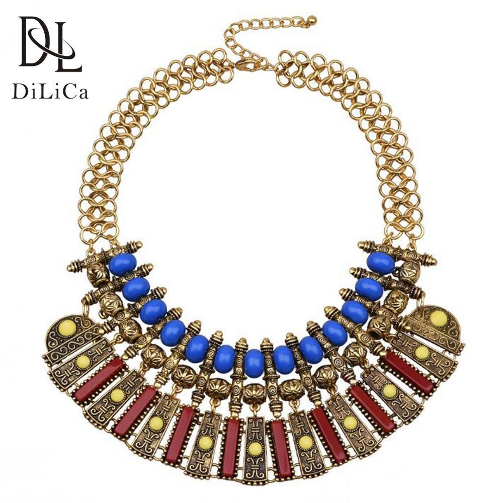 gros Collier tendance vintage pour les femmes Boho Or Couleur Maxi Collier Bijoux Lady Bohème Colliers