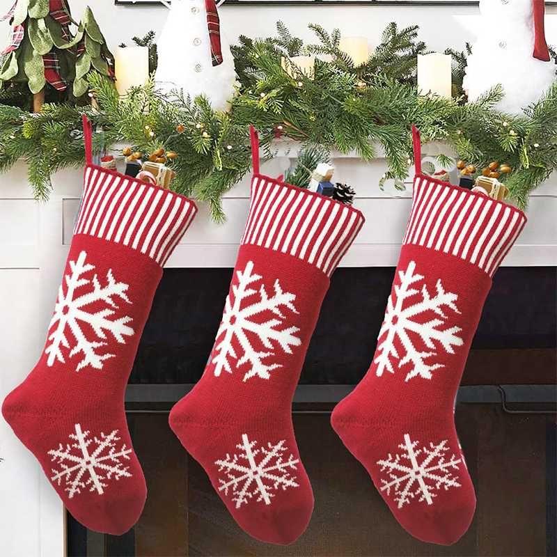 Weihnachtsstrumpf Knit Weihnachtsgeschenk Candy Bag Socke Weihnachtsschmuck für Neujahr Startseite Baum