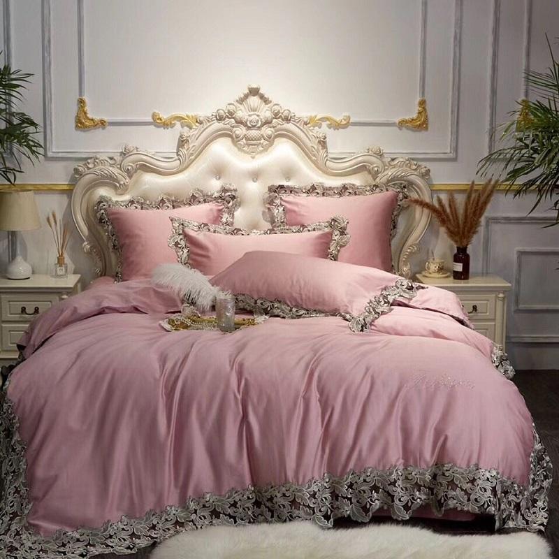 Luxus-Rosa-Blau Weinrot ägyptischer Baumwolle Bettwäsche-Set Königin König-Spitze Bettbezug Bettlaken / Bettwäsche Kissen- Dekorative Kissen