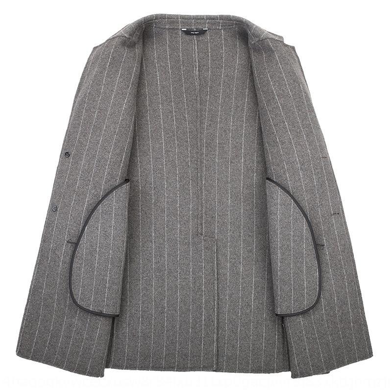 New Outono e Inverno en lã exteriores listras verticais lã Windbreaker casaco de lã casaco de vento de comprimento médio terno colarinho homens frente e verso dos homens