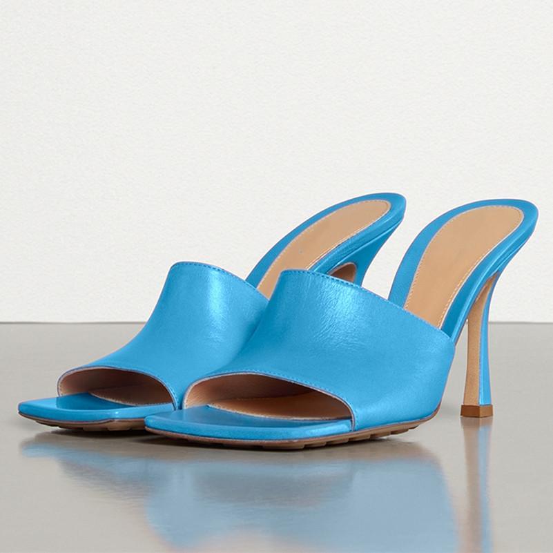 Meotina été Diapositives femmes Chaussures Véritab en cuir Talons mince Chaussures cuir véritable talon haut extrême Pantoufles Sandales femme