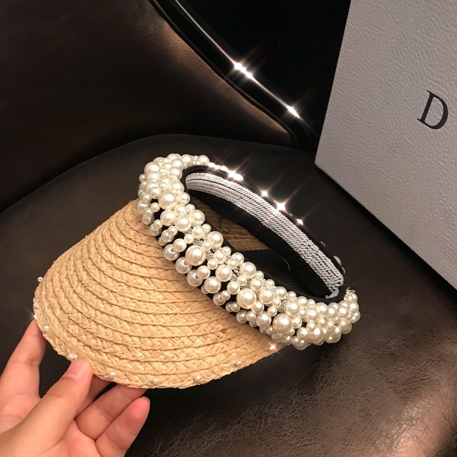 Paglia delle nuove donne alla moda toque perla cucito a mano delle donne svuotare cappello di Lafite cappello di paglia del sole del bordo superiore Pearl per le donne