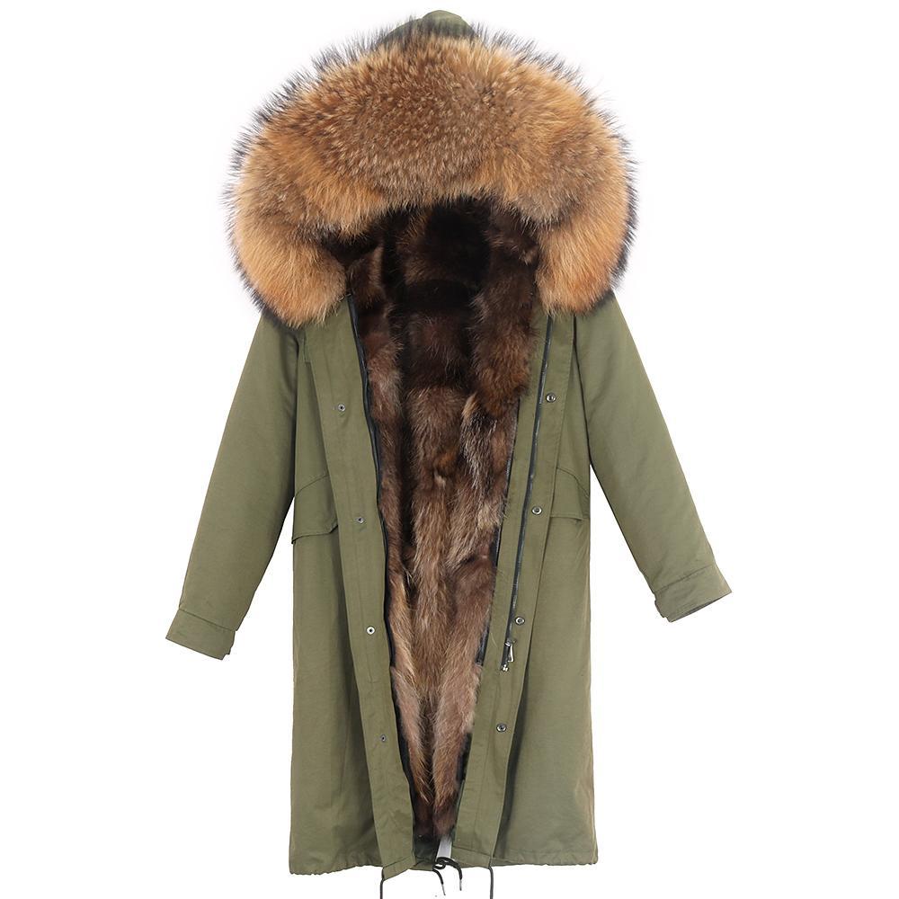 2020 뉴 실제 모피 코트 겨울 자켓 여성 파카 방수 실제 여우 모피 라이너 자연 너구리 모피 칼라 분리 겉옷 T200905