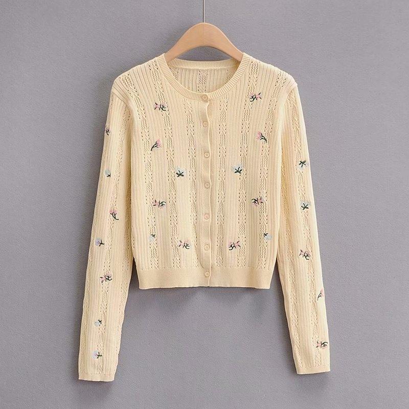 bordados camisola agulha agulha de bordado das mulheres 2020 outono nova em torno do pescoço manga longa single-breasted bordadas camisola de malha H3053