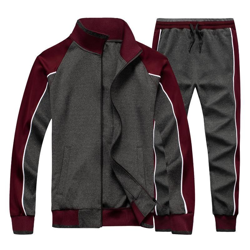 Homens Sportswear Casual Primavera Tracksuit Homens Dois Peças Sets Stand Collar Jaquetas Capitais Calças Calças Calças Terno de Trilha Running