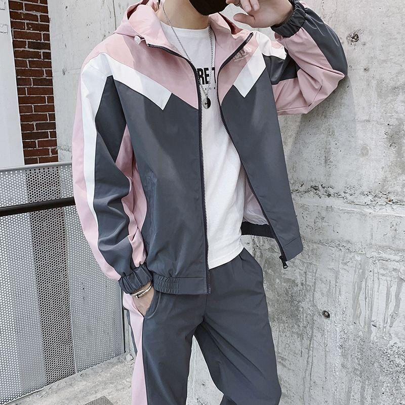Хип-хоп костюм свитер мужской свободный 2019 весной новый капюшоном контраст цвета свитер из двух частей набора DS366TP85