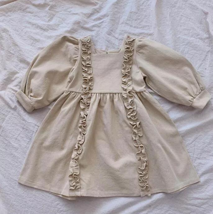 DB ins اليابان الفتيات الصغار الكتان العضوية القطن النفخة فساتين طويلة الأكمام الكشكشة طوق اللباس أستراليا الأطفال