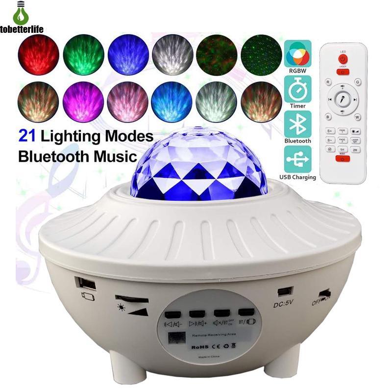 Coloré Starry Sky Wave Wave Wave Lampe de projecteur USB actif Bluetooth actif Bluetooth Player LED Night Light Projection Lampe cadeau de Noël